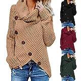 Moonuy Frauen Langarm Pullover Damen Button Strickwaren Mode Sweatshirt Pullover Tops Strick Shirt Rundkragen Herbst Win