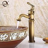 Hlluya Wasserhahn für Waschbecken Küche Antiker Schreibtisch Oben kalt und Whirlpool Wasserhahn antike Waschbecken mit hohen Wasserhähne Farbe B
