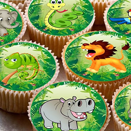 24 Jungle Animals Lion Snake Parrot Tropical Elephant Cake Toppers 4cm On Wafer Rice Paper