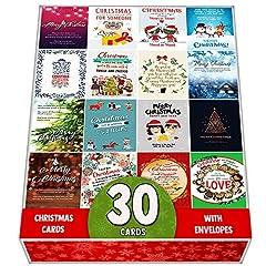 Idea Regalo - Confezione da 30biglietti di auguri natalizi assortiti-Progettato con bel mix di Natale citazioni-grande selezione