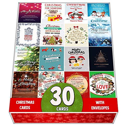 Confezione da 30biglietti di auguri natalizi assortiti–Progettato con bel mix di Natale citazioni–grande selezione