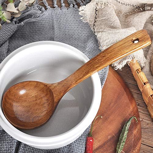 TianranRT Aus Holz Löffel Bambus Küche Kochen Utensilien Werkzeug Suppe Teelöffel Catering Löffel Stars Utensil Halter