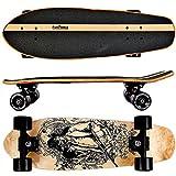 FunTomia Cruiser Midi-Board / Skateboard 65cm aus 7-lagigem kanadischem Ahornholz / oder 5-lagen kanadischem Ahornholz und 2-lagen Bambusholz inkl. MACH1 ABEC-11 Kugellager - mit oder ohne LED Rollen (Gangster / mit schwarzen Rollen / aus Ahornholz)