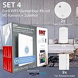 Smart Home Alarmsystem mit Kamera (HD), Rauchwarnmelder, Bewegungsalarm, Tür- BZW. Fensteralarm von Multi Kon Trade I Alexa kompatible Alarmanlage Haus Funk W-LAN SD Karten Slot (FO1402 Set 4)