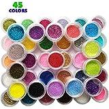 Magicdo 45 colores Polvo brillo arte clavo, Extra fina con purpurina botes, más ricas de rayas en Amazon para niños & adultos proyectos de arte escuela o casa, Scrapbooking, cara, uñas, ojo arte