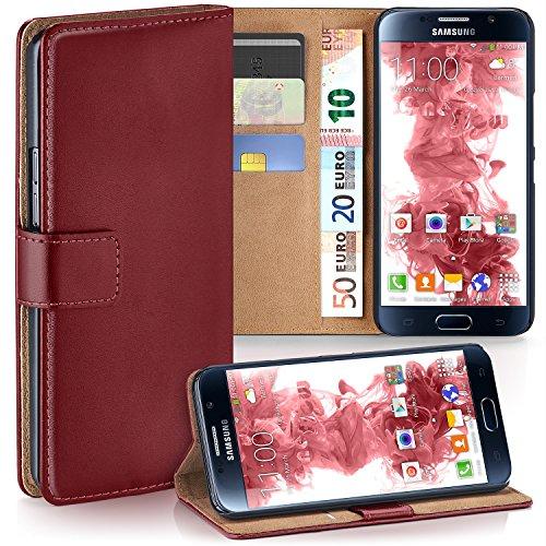 Samsung Galaxy S6 Hülle Dunkel-Rot mit Karten-Fach [OneFlow 360° Book Klapp-Hülle] Handytasche Kunst-Leder Handyhülle für Samsung Galaxy S6 Case Flip Cover Schutzhülle Tasche (Samsung Galaxy S6 Wallet Case)
