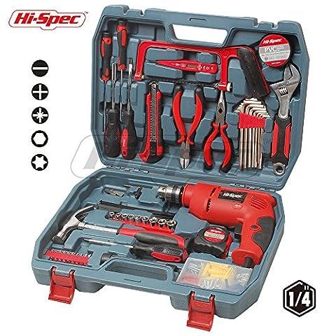Hi-Spec 130pc AC 300 Watt Hammer Drill Combo Tool Set with Brad Point Wood, HSS Steel & Brick Drill Bit Set, including large 8