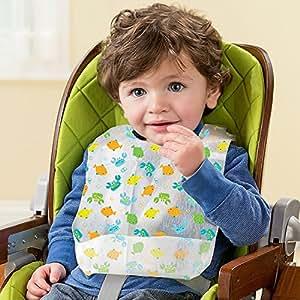WonderKart Set of 8 Piece Baby Disposable Bibs With Crumb Catcher - Random Colors and Designs
