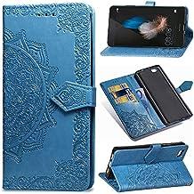 YKTO Funda Huawei P8 Lite 2015 Artificial Suave Cuero Cierre Magnético Cover Soporte Plegable Flip Billetera