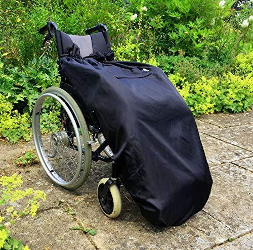 61dOkfQqBVL - BundleBean - Cosy - Saco impermeable para sillas de ruedas - Para adultos - Con forro polar - Universal Fácil de ajustar. Viene en una bolsa compacta para guardarlo cómodamente - Negro