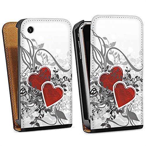 Apple iPhone 4 Housse Étui Silicone Coque Protection Amour Amour C½ur Sac Downflip noir
