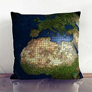 """Big Box Art """"carbón con globo mapa del mundo 2"""" cojín manta almohada, multicolor, 43x 43cm)"""