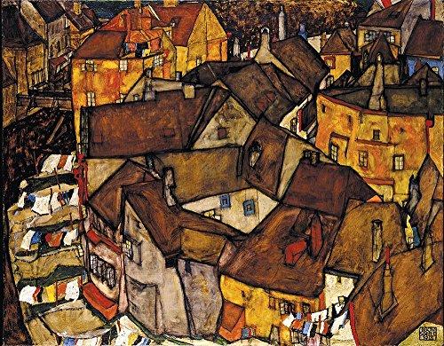 Das Museum Outlet–Egon Schiele–Crescent von Häusern, gespannte Leinwand Galerie verpackt. 40,6x 50,8cm