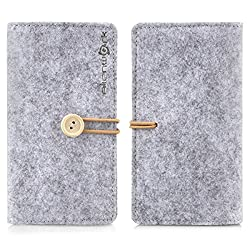 Alienwork Schutzhülle für 3.5-4.7 Zoll Smartphone Stoßfest Brieftasche Hülle Case Portemonnaie Tragetasche Filz grau AP6S28-02