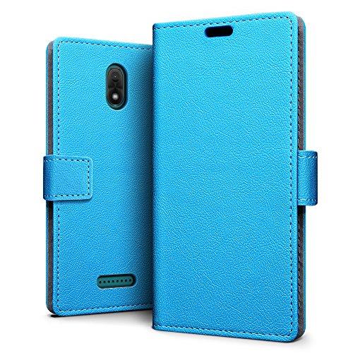 SLEO Wiko Jerry 3 Hülle, PU Leder Case Tasche Schutzhülle Flip Case Wallet im Bookstyle für Wiko Jerry 3 Cover - Blau