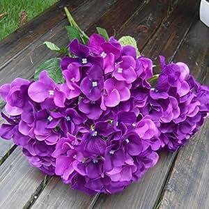 Soledì- 1 Mazzo di 7 Fiori Artificiali Ortensia, Fioritura in Seta, Bouquet Decorazione per Cerimonia Matrimonio Party Casa (Viola Scura)