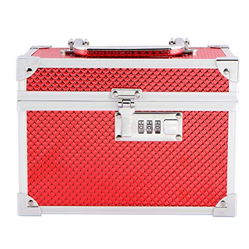 Stripes Metal Two Layer With Number Lock Wedding Bridal Make Up Box/Jewellery Box - Red