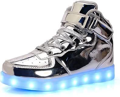Unisex Bambini LED Light-up Scarpe,7 Colori USB Carica Lampeggiante Luminosi Running Sneakers,Bambino da Skateboard Alte Sneakers,Ragazze e Ragazzi Light Up Fashion Party Street Dance Sneakers