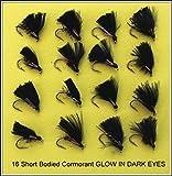 16kurz Körperliche Kormorane Glow in Dark Trout Fliegenfischen Fliegen Set 62–12-sb auf Haken Größe 12
