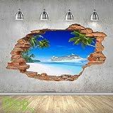Crucero Playa adhesivo pared 3d Aspecto - Mar Océano Playa Salón Dormitorio Z509 - Small: 50 cm x 88 cm