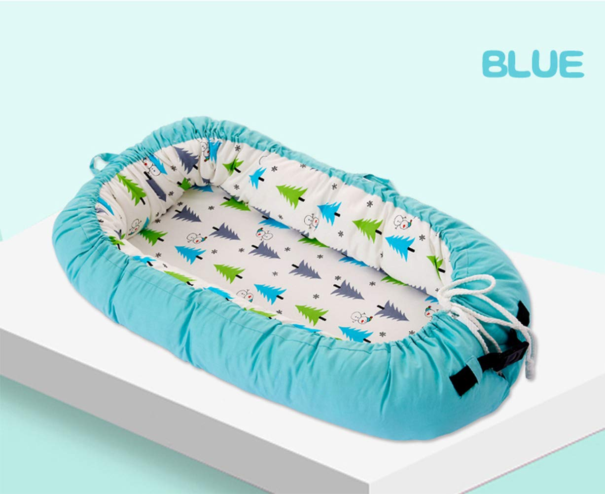 LNDD-2 in 1 Baby Nest Cushion Cocoon Baby Lounger Bionic Uterine Cradle Mattresses Travel Bumpers,Blue LNDD ★CARE FOR THE BABY'S SPINE: The sponge mattress fits the baby's back, moderately soft and hard, and the sleep is evenly applied for a long time. ★RETRACTABLE DESIGN: buckle drawstring design Telescopic adjustment Different ages Different comfort spaces. ★MULTI-FUNCTION: windproof and anti-mosquito shading, easy to use, handle design foldable, easy to carry out and easy to take 1