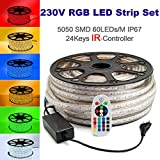 230V LED RGB Mehrfarbig Strip Streifen Lichtband Flex Band mit 5050 SMD 60LEDs pro Meter IP67 - für Innen und Außen mit 24 Keys Infrarot (IR) Fernbedienung B-Ware (15 Meter)