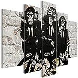 decomonkey | Bilder Banksy Street Art. grau Affe Geldsäcke 200x100 cm | 5 Teilig | Leinwandbilder | Bild auf Leinwand | Vlies | Wandbild | Kunstdruck | Wanddeko | Wand | Wohnzimmer | Wanddekoration | Deko | Ziegel Beige Braun Schwarz Graffiti