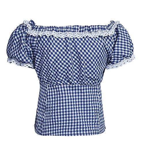 Trachtenset Damen Trachten Lederhose braun kurz mit Stickereien blau weiß kariert 40-40 -