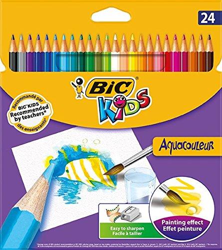 Bic Kids AquaCouleur – Pack de 24 lápices de colores de madera, multicolor