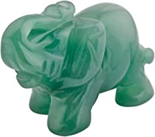 mookaitedecor Natural Green Aventurine Elephant Ornament Figurine,Healing Crystal Energy Gemstone Reiki Statue Home...