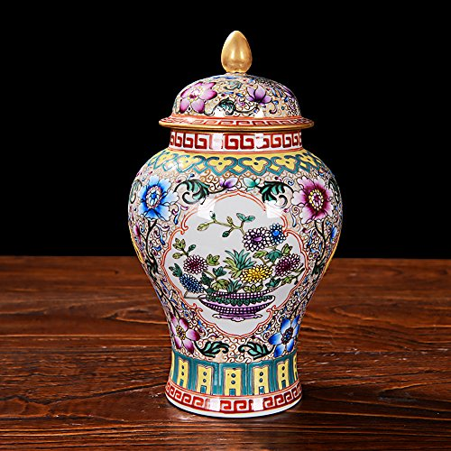 Chinesische Porzellan Vase Blume Home Office Decor Handgefertigt und handbemalt Porzellan mit Blumenmuster & # xff08; 24,1x 12,7cm & # xff09; -