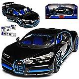 Collection 711 18 Bugatti Chiron Coupe Schwarz Weltrekord Version Montoya, Wunschkennzeichen
