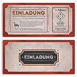 (20 x) Einladungskarten Geburtstag Vintage Retro Ticket Alt Look Rot Einladungen