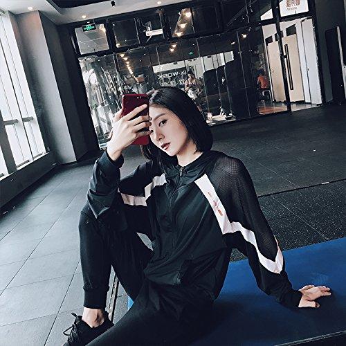 Xuanku Übung Yoga Anzug Speed Dry Bluse Morgen Alle Dünnen Hohlen Bluse Mantel Frau, L, Schwarz