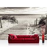 Fototapete 254x184 cm PREMIUM Wand Foto Tapete Wand Bild Papiertapete - Strand Tapete Meer Steg Wasser schwarz weiß - no. 3085