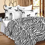 Story@Home 100% Cotton Double Bedsheet With 2 Pillow Covers Combo Set, Mercerized Finish - Metro Series, 186 TC, Zebra Stripes (Black and White)