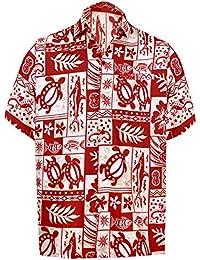 LA LEELA Shirt Camisa Hawaiana Hombre XS - 5XL Manga Corta Delante de Bolsillo Impresión Hawaiana