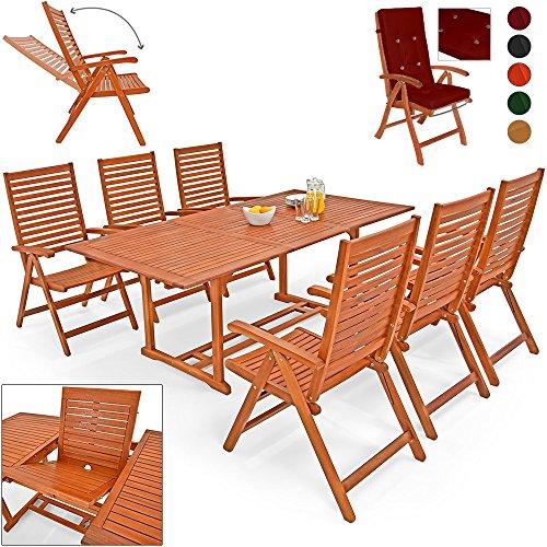 Deuba® 6+1 Sitzgarnitur Unikko | Eukalyptusholz inkl. 6 Auflagen rot | Sitzgruppe Essgruppe Tischgruppe Garten Möbel Set - Tagsüber Flüssigkeit