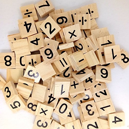 Wooden Scrabble Wood Number and Symbol Piece Replacement 100 Tiles Toys Crafts and Pre-school Kids Education by Wedding Decor