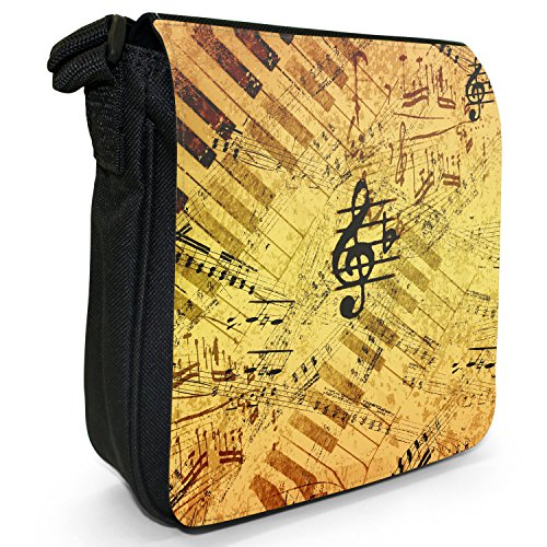 Vintage grunge Music Notes piccolo nero Tela Borsa a tracolla, taglia S Vintage Look Music Notes
