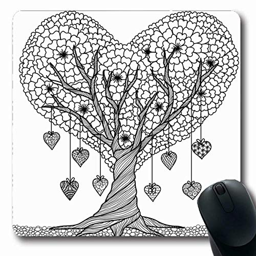 Luancrop Mauspads Blumenbuch Herzform Baum Färbung Abstrakt Liebe Kulturen Natur Erwachsener Asien Schwarzer Teppich Kreis rutschfeste Gaming-Mausunterlage Längliche Gummimatte -