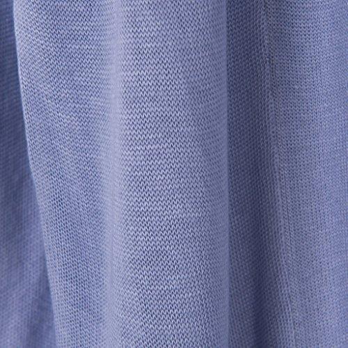 Vogueearth Damen's Lang Hülse Knit Thin Cardigan Strickjacke Sweater Sweatshirt Grau-Blau