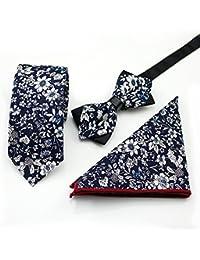 SKNSM hidalgo Corbata de algodón con estampado de flores de los caballeros Set Corbata de citas con el partido Pañuelo de corbata Bowtie para conjuntos de Tie