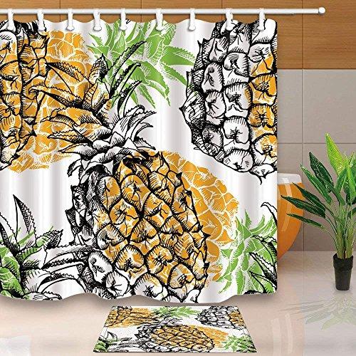 cdhbh Tropical Fruit Watercolor Ananas mit Gelb Schatten Decor 180x180cm Schimmelresistent Polyester Stoff Vorhang für die Dusche Anzug mit 40x60cm Flanell rutschfeste Boden Fußmatte Bad Teppiche -