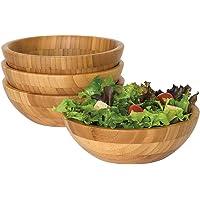 Lot de 4 saladiers ronds en bambou pour fruits ou salades - 14 cm de diamètre x 6 cm de hauteur