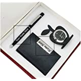 Crownlit Personalized 3 in 1 Metal Pen Set with Card Holder and Table Clock, Your Name Carved