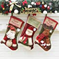 Set Of 3 Christmas Stockings For Fireplace Decoration ,Snowman ,Santa,Reindeer,