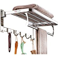 Fortune Luxurious Stainless Steel Folding Towel Rack | Towel Stand | Towel Hanger | Towel Holder | Rack Shelf | Bathroom…