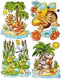 Unbekannt 1 Bogen: Fensterbild - lustige Tiere - Frosch - Seepferd - Schmetterling - Ted..
