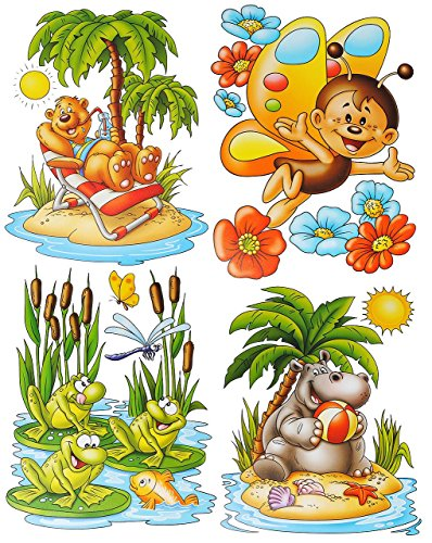 Unbekannt 1 Bogen: Fensterbild - lustige Tiere - Frosch - Seepferd - Schmetterling - Teddy auf der Insel - statisch haftend - Sticker Fenstersticker / z.B. für Fenster .. (Meer Tier Tattoos)